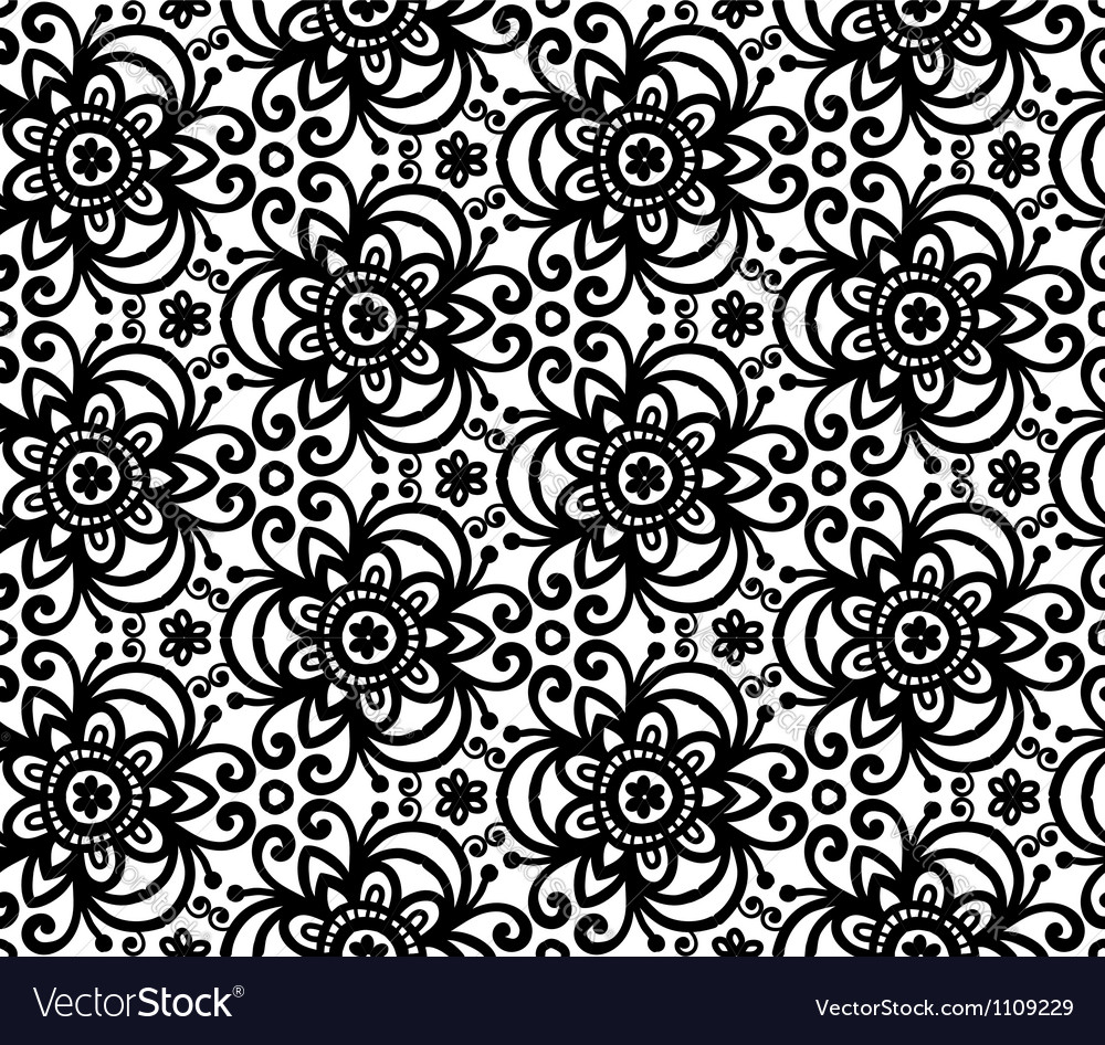 Black abstract flowers seamless pattern