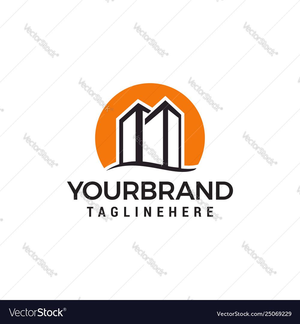 Building town logo design template