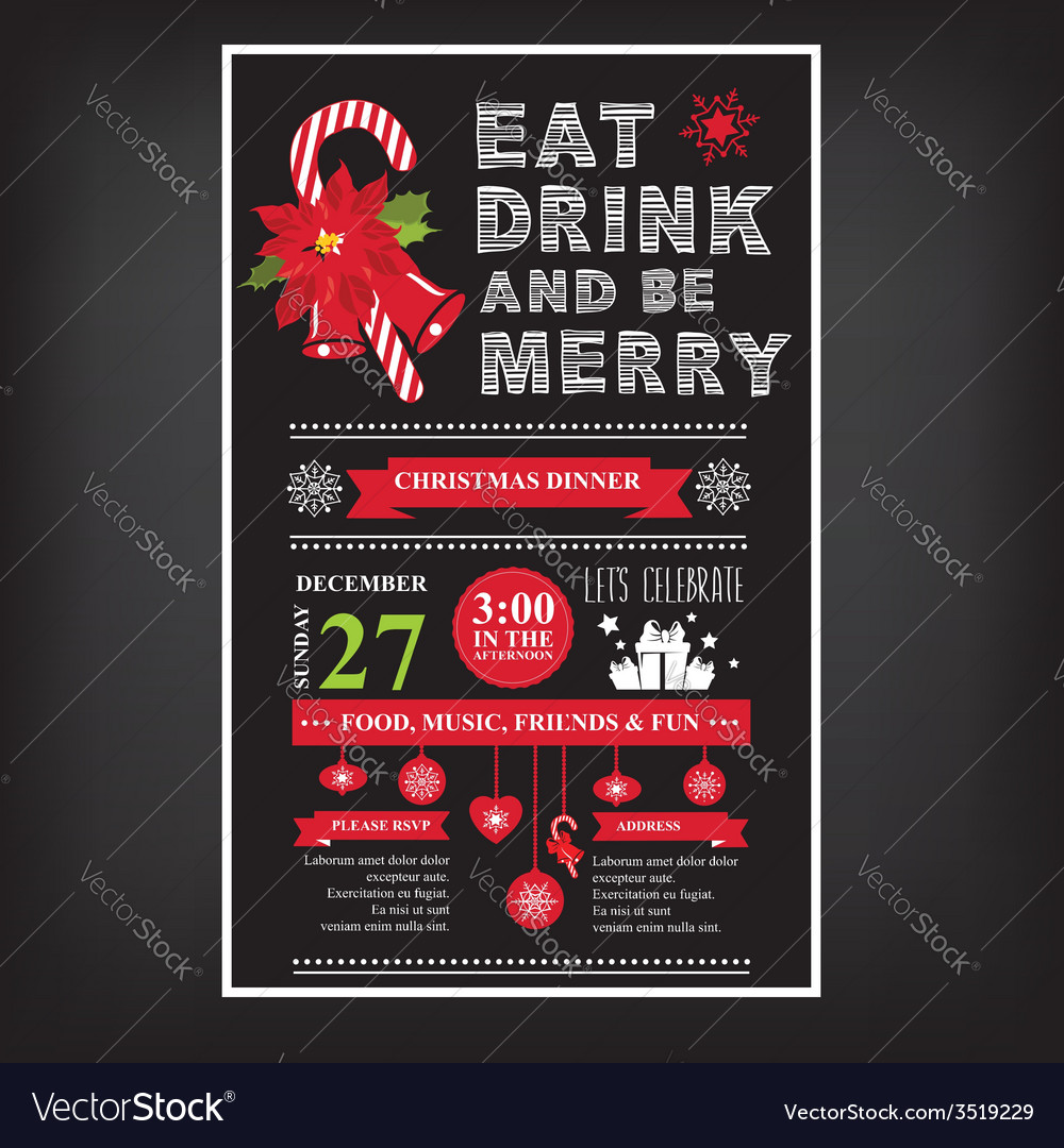 Christmas restaurant and party menu invitation vector image stopboris Images
