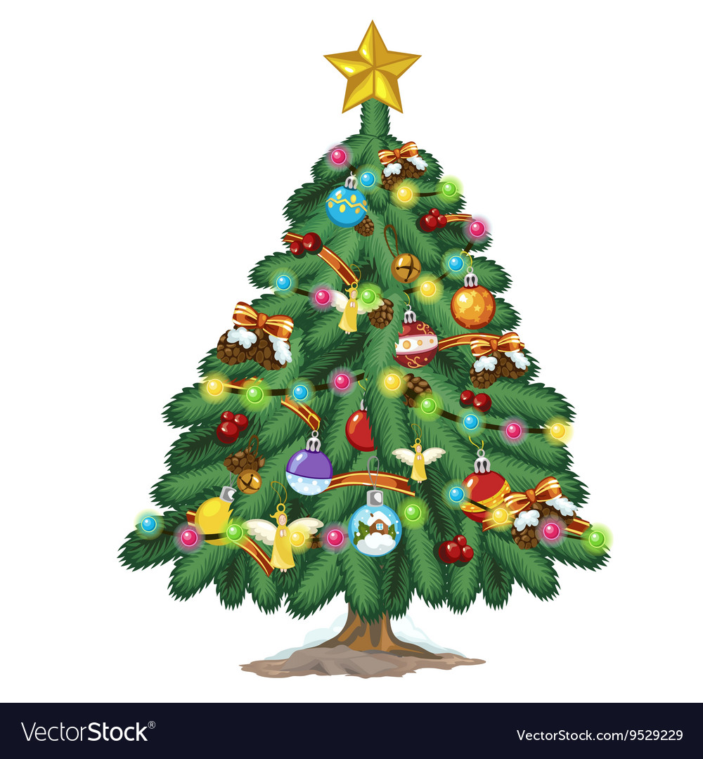 Star For A Christmas Tree: Christmas Tree With Toys And Gold Star On Top Vector Image