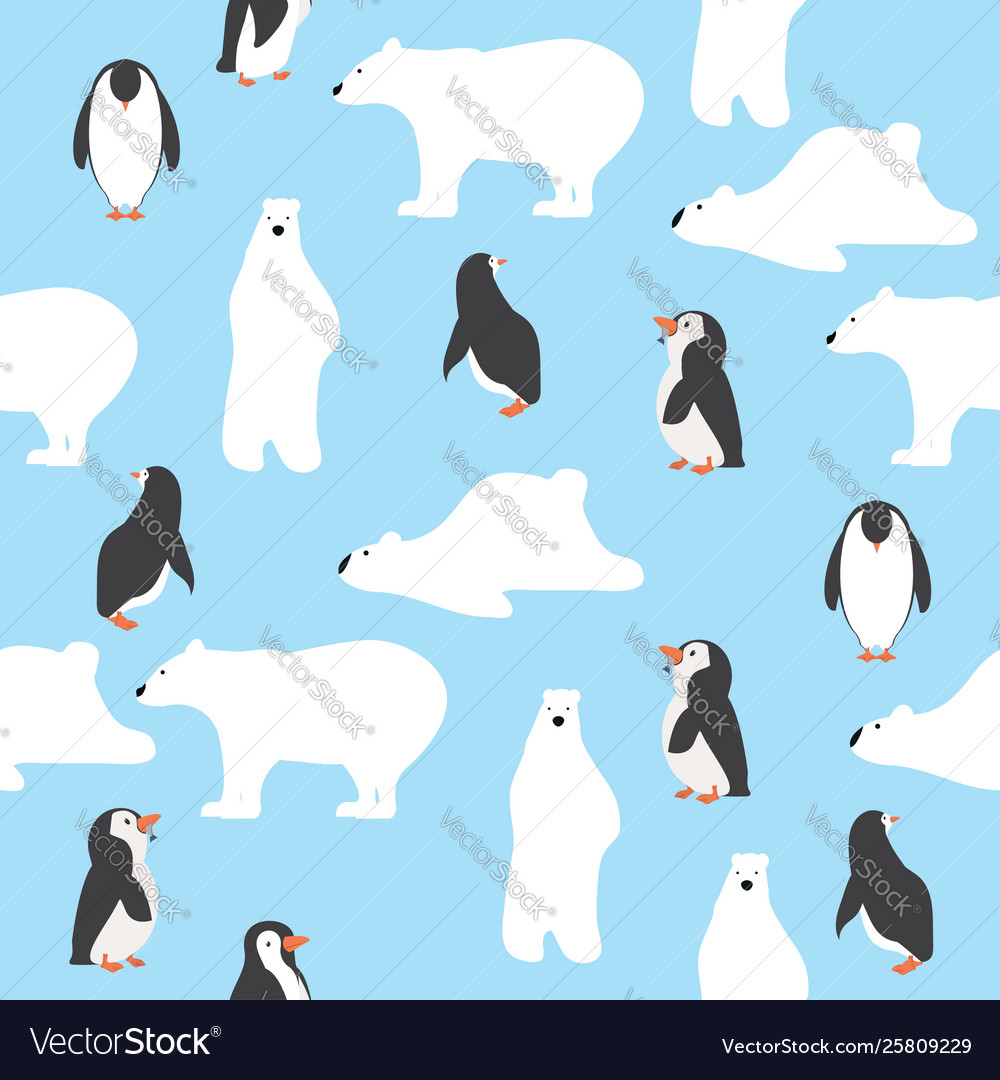 Cute polar bears with penguins saemless pattern