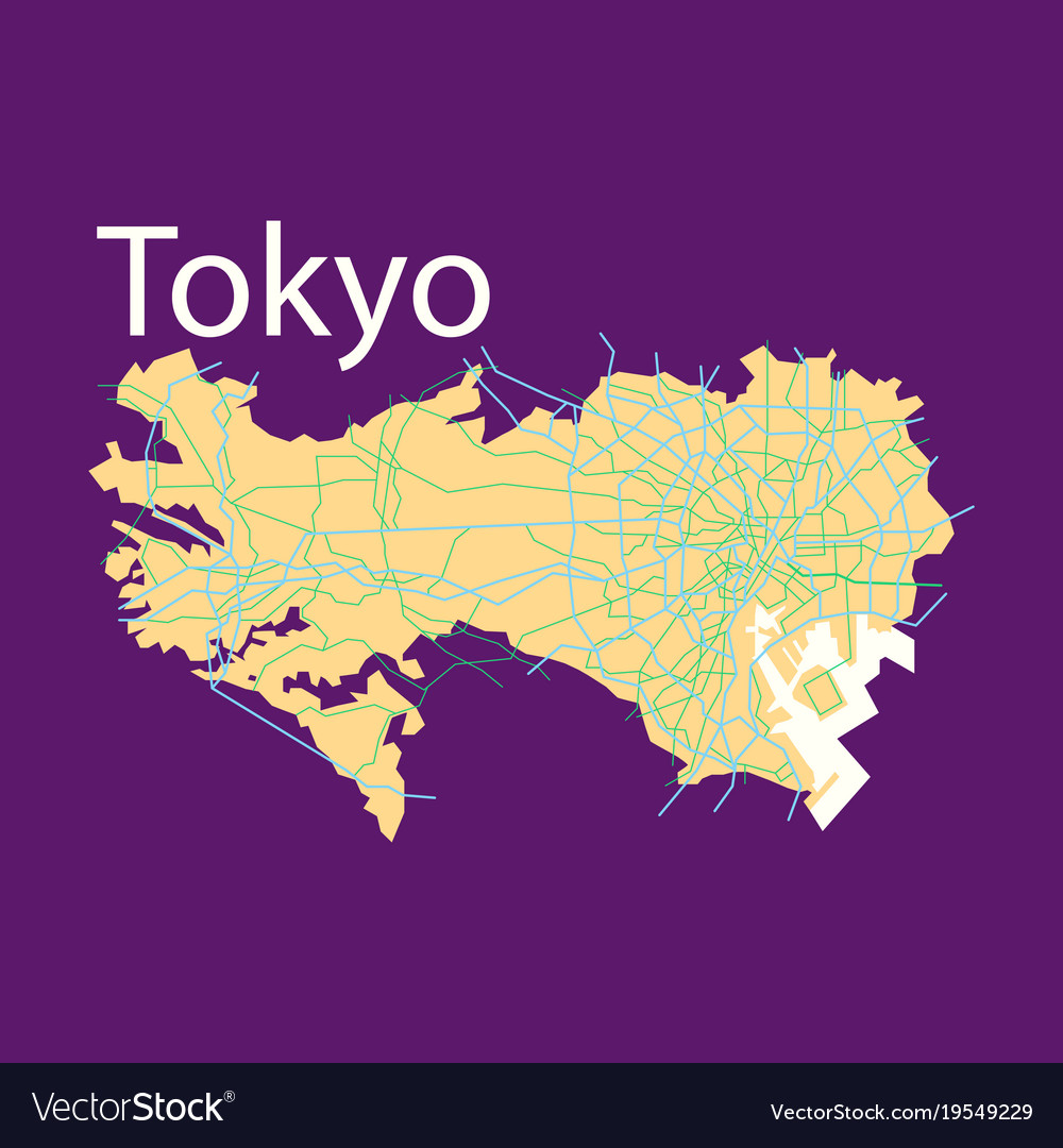 Flat japan tokyo top view map showing streets vector image gumiabroncs Images