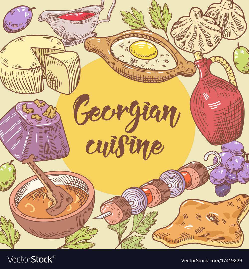 Hand Drawn Georgian Food Design Georgia Cuisine