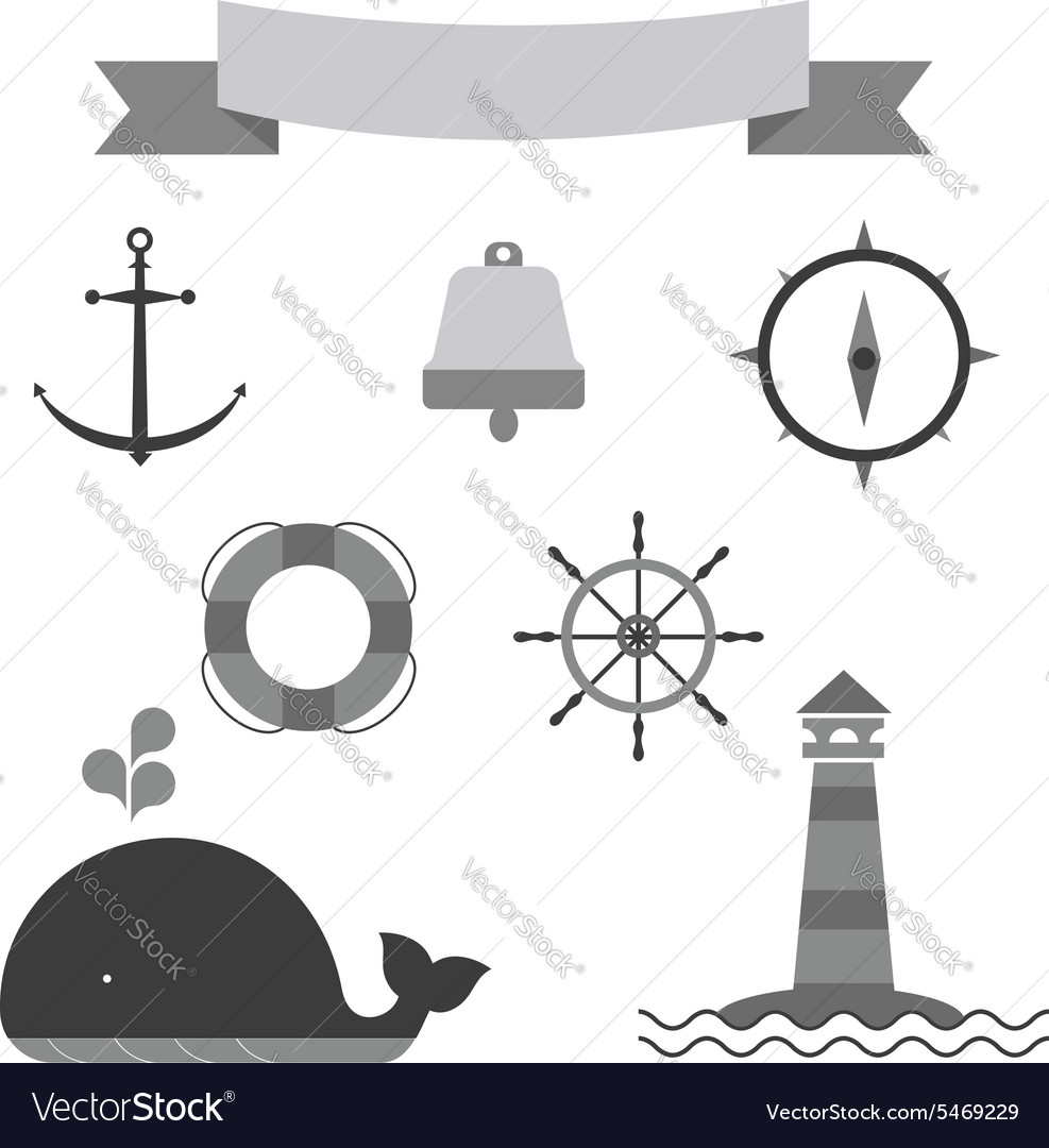 Marine set of icons vector image