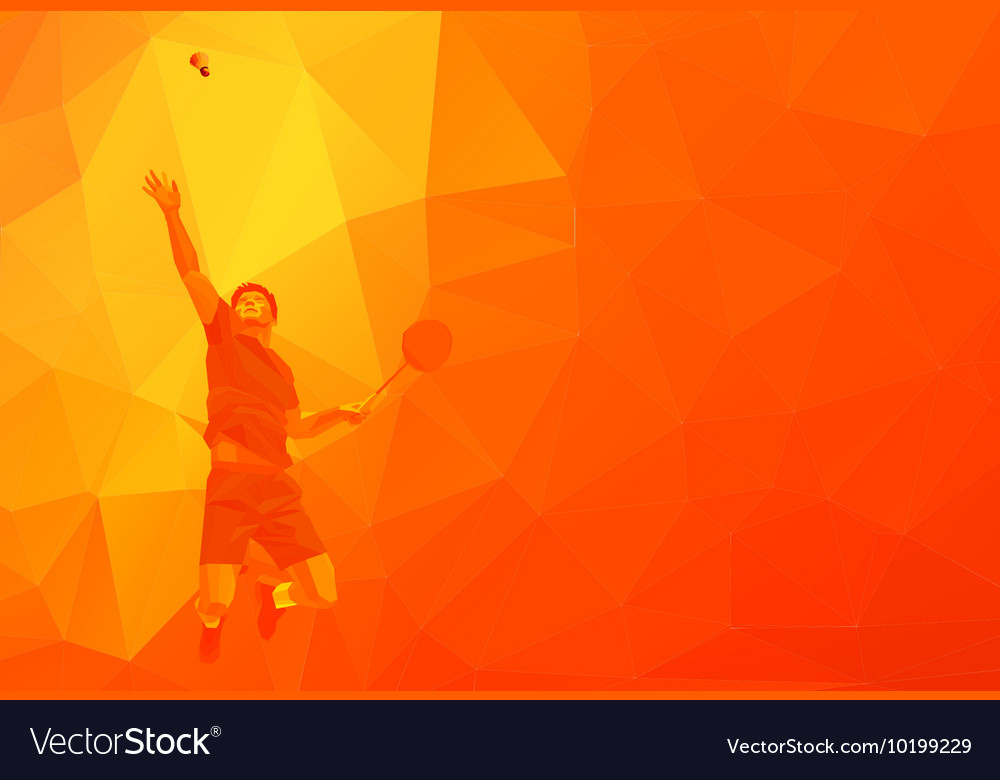 Polygonal professional badminton player on
