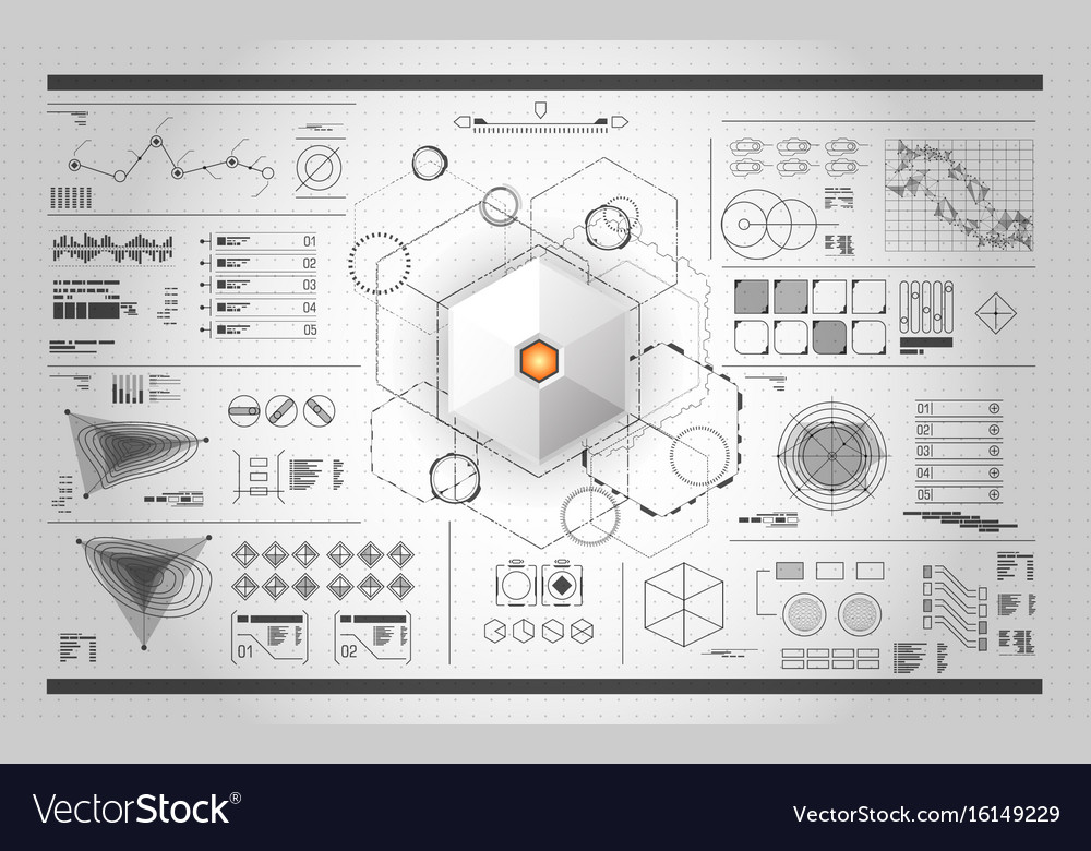 Set of black and white infographic elements head vector image