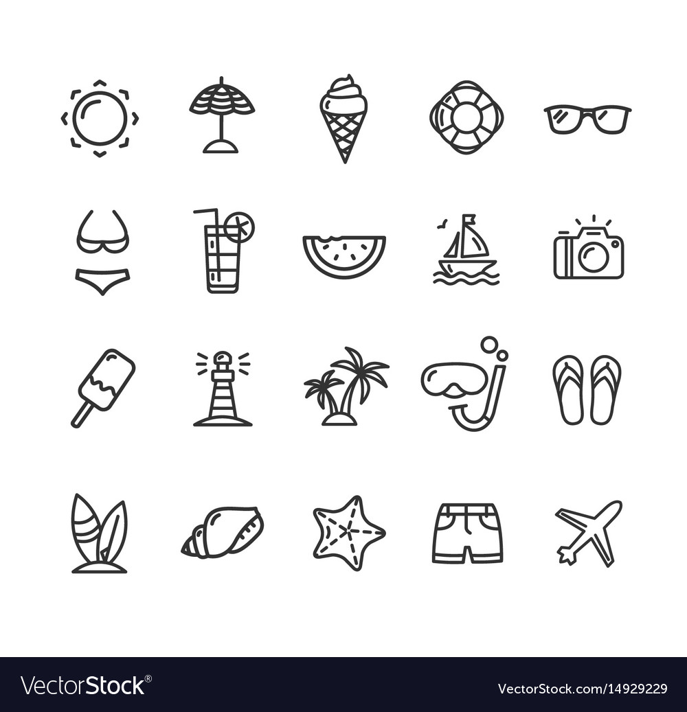 summer icon black thin line set royalty free vector image summer icon black thin line set royalty free vector image