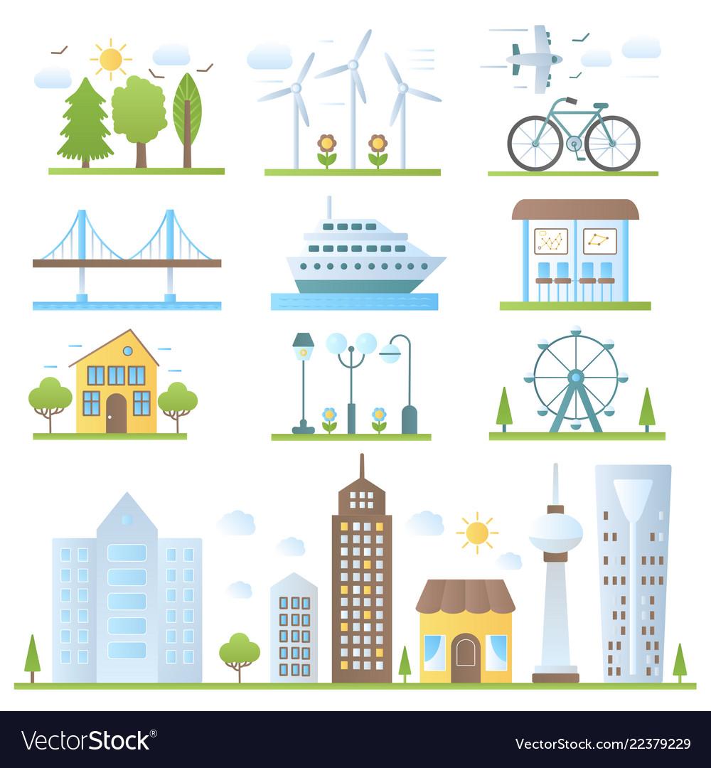 Urban city landscape design elements set in trendy
