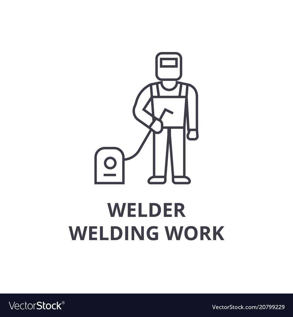 Welder welding work line icon sign