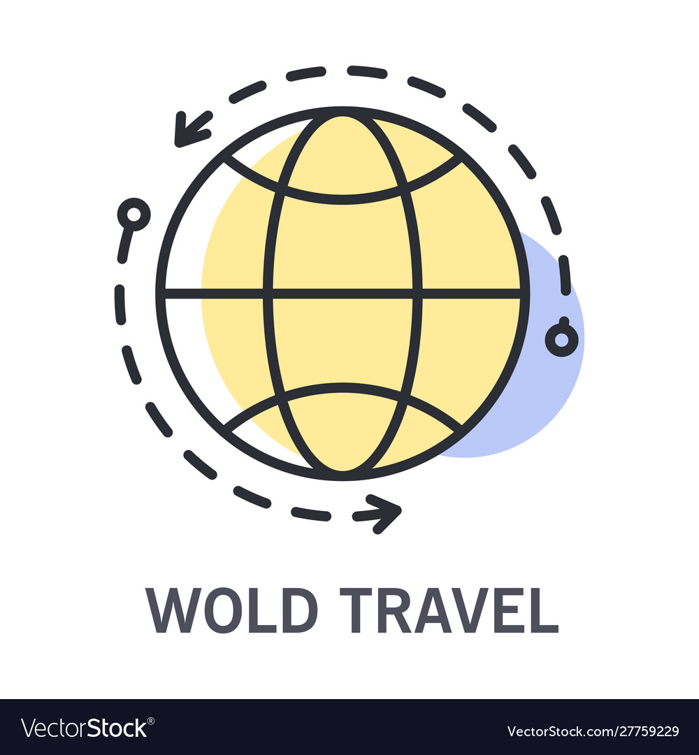 World travel icon with round globe and arrows for