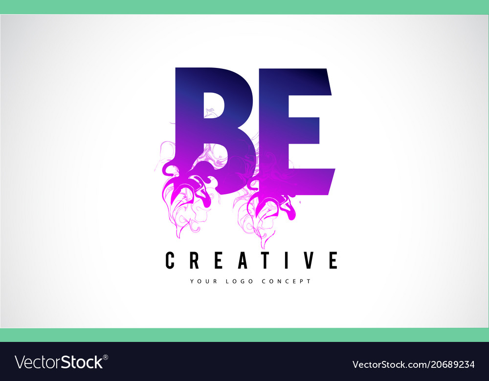 Be b e purple letter logo design with liquid vector image