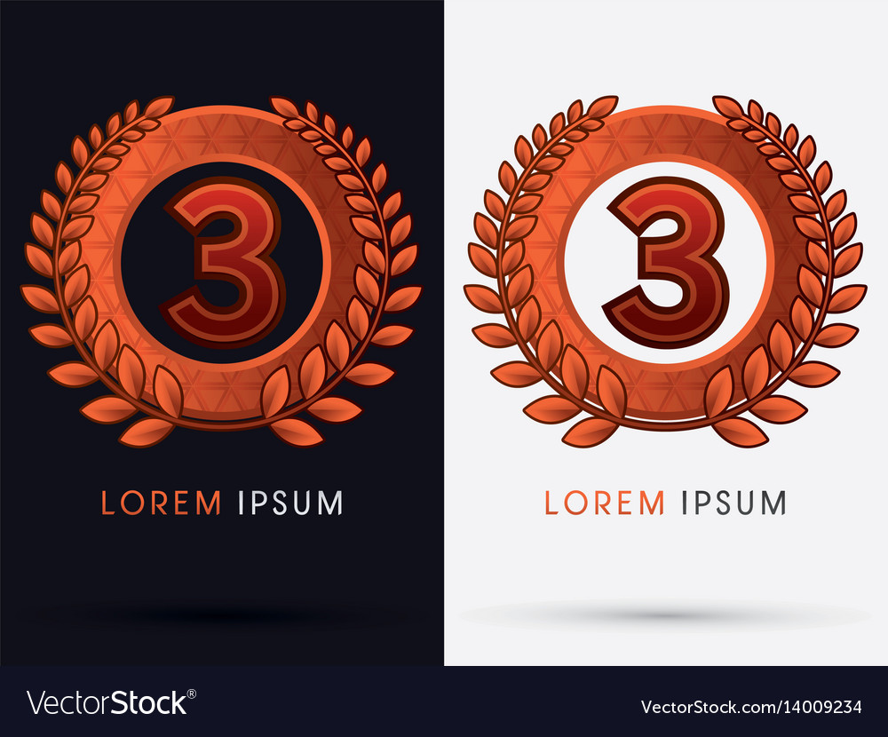 Bronze ribbon awards for number 3 vector image