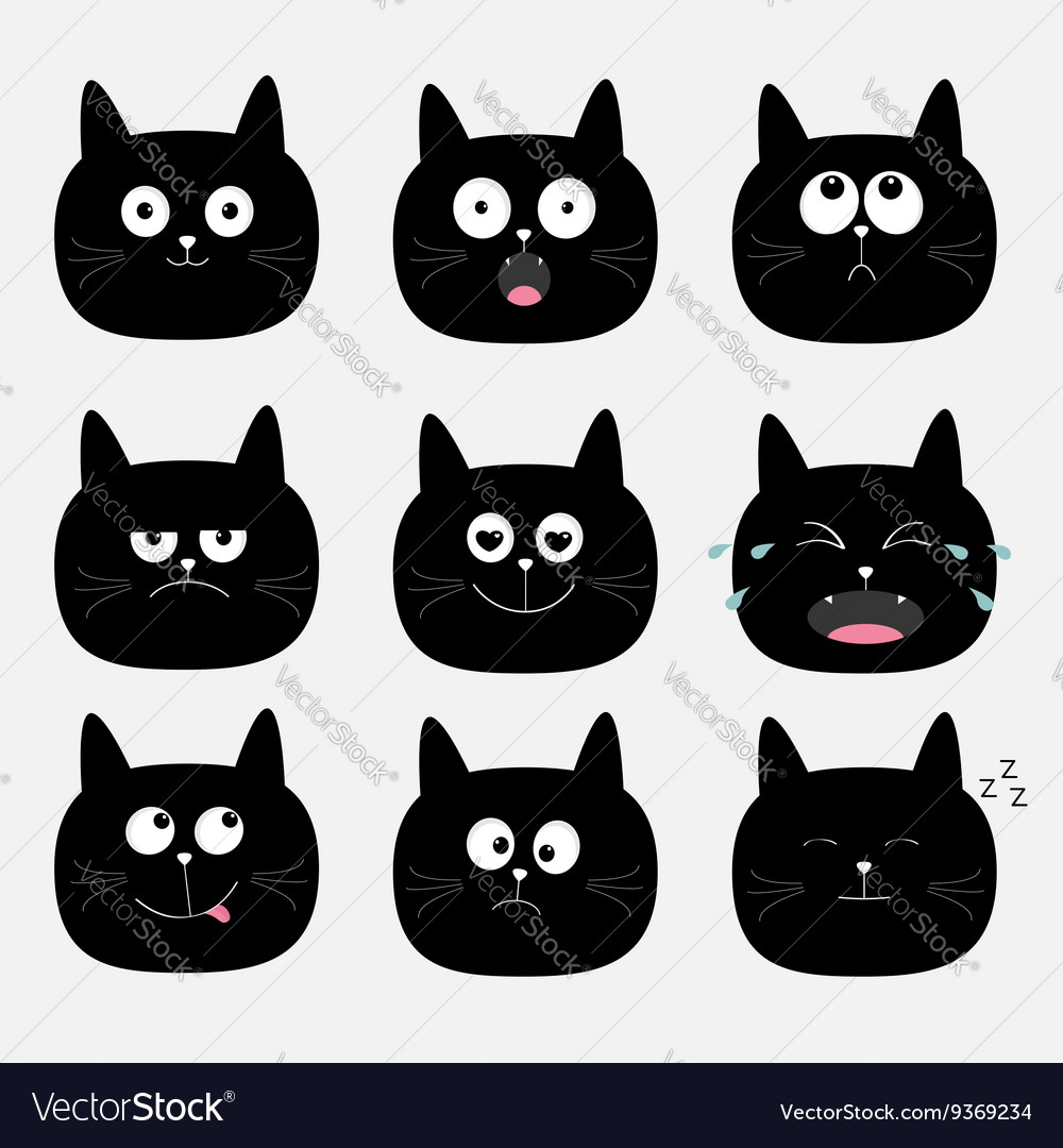 black and white cat characters cute black cat head set funny cartoon characters
