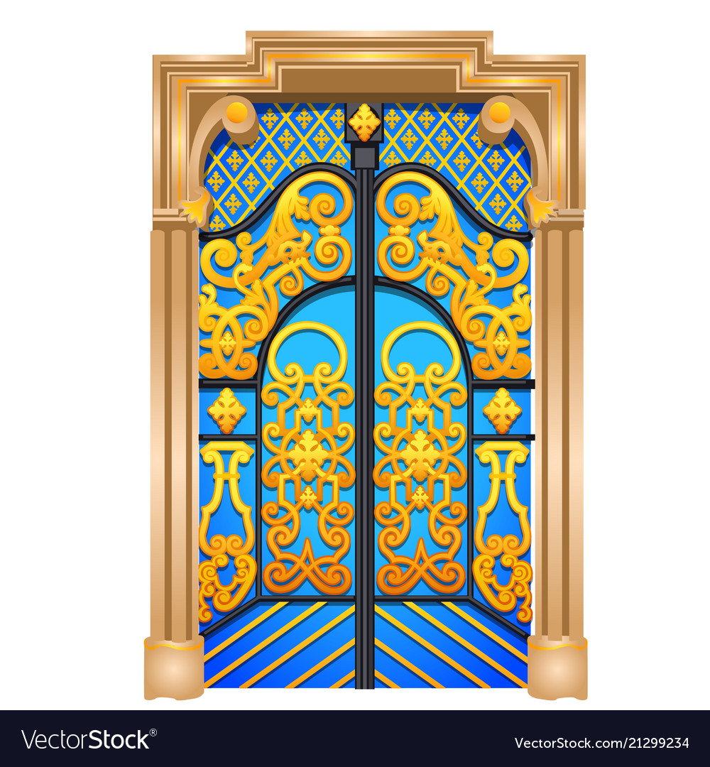Double door in the oriental style isolated on