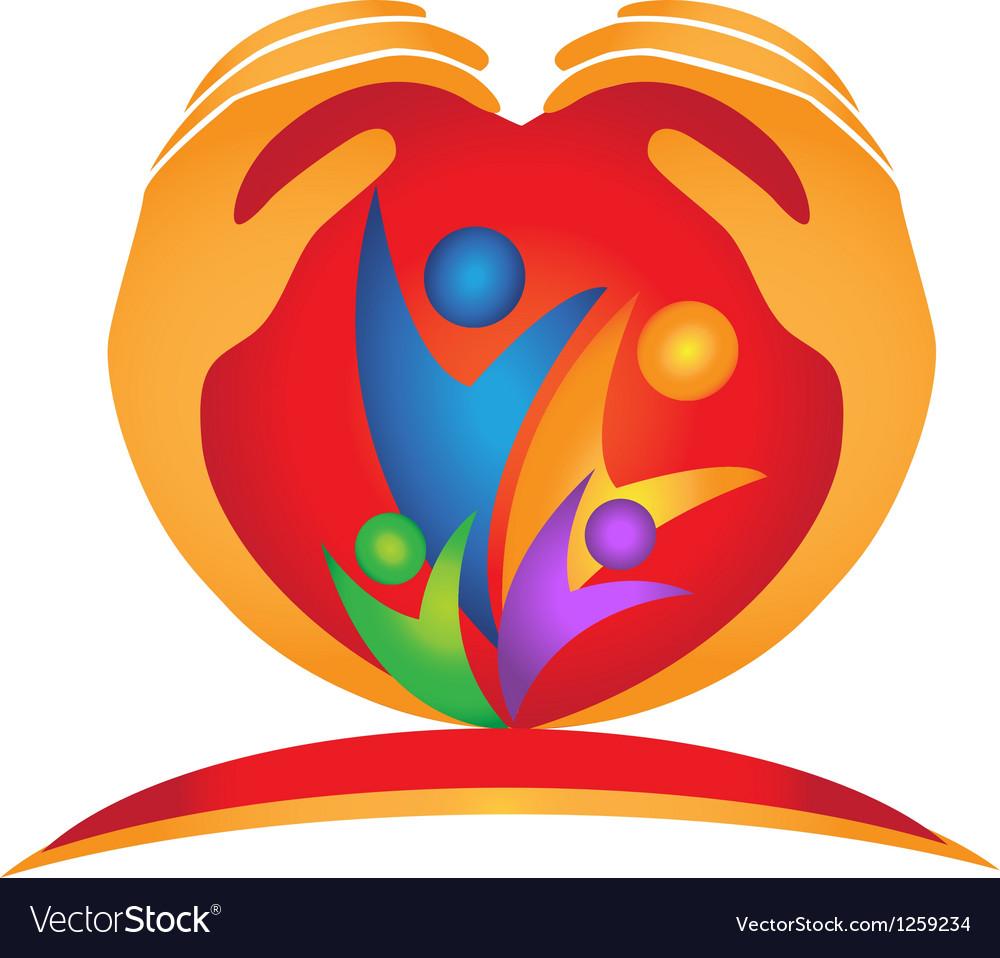 Family hands in heart shape logo vector image