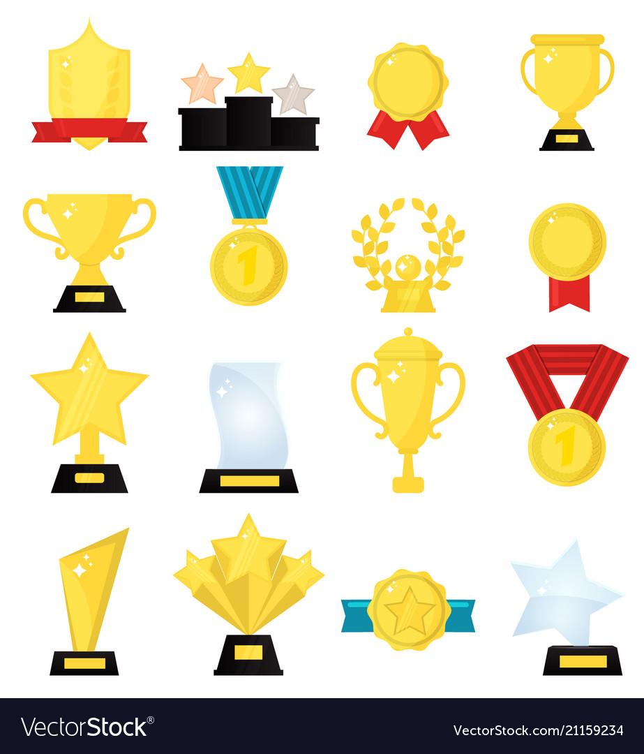 Gold award medal winner beautiful golden trophy