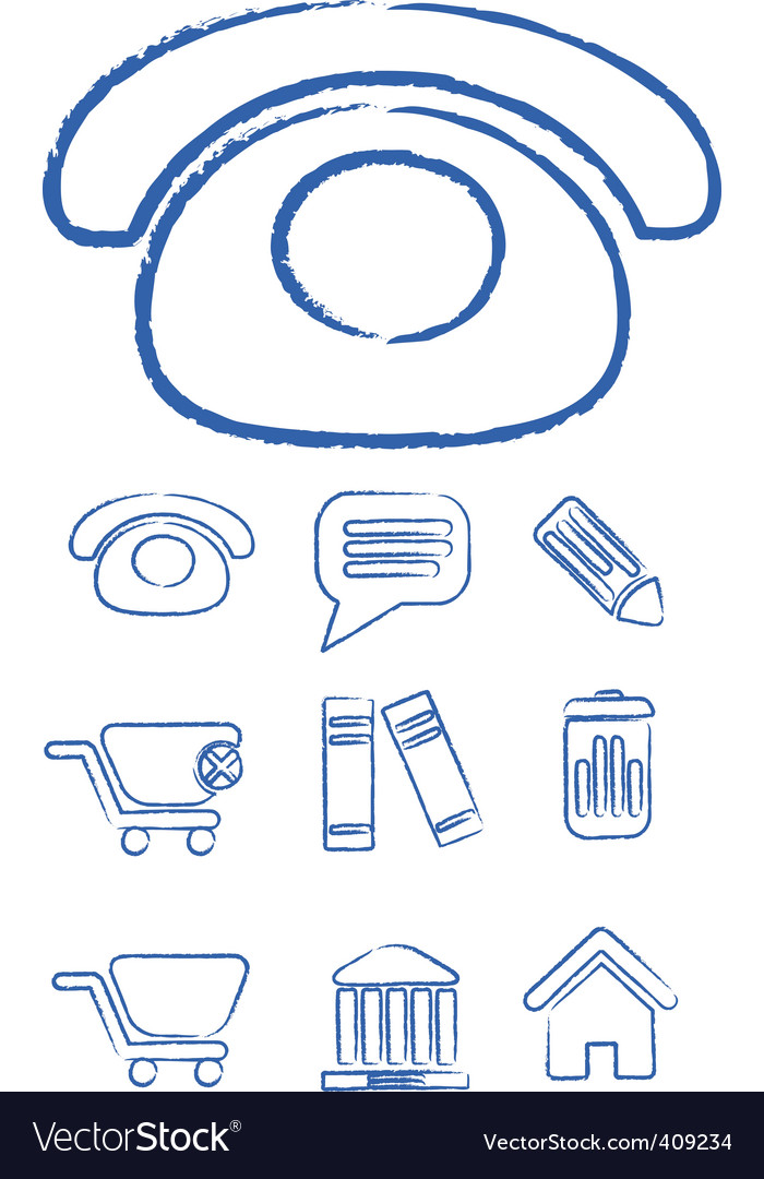 Hand drawn office signs vector vector image