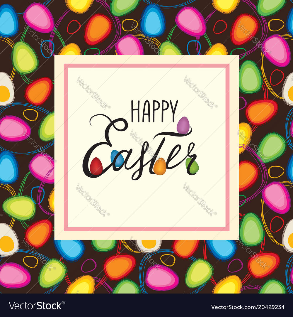 Happy easter greeting card holiday bakground with