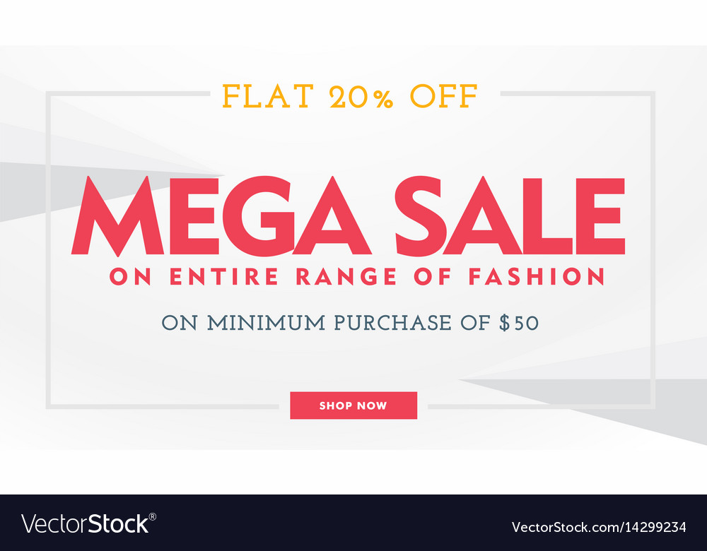Mega sale banner template in white and red colors vector image
