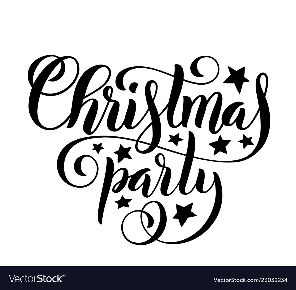 Merry christmas party handwritten lettering