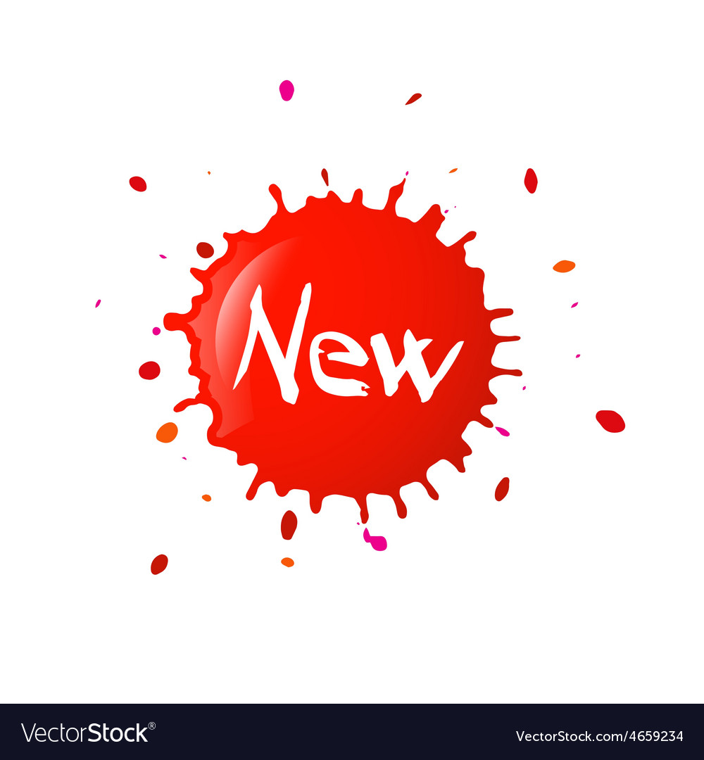 New Paper Title on Red Splash Isolated on White vector image
