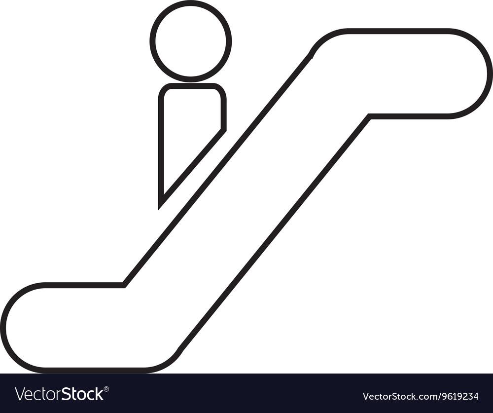 Silhouette of person escalators isolated icon