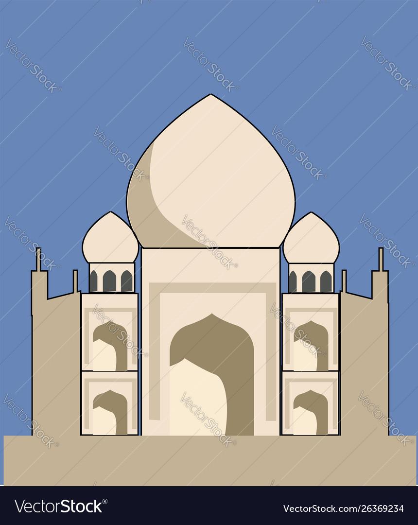 Taj mahal on white background
