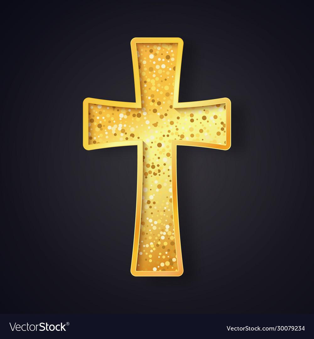 Textured gold catholic cross isolated