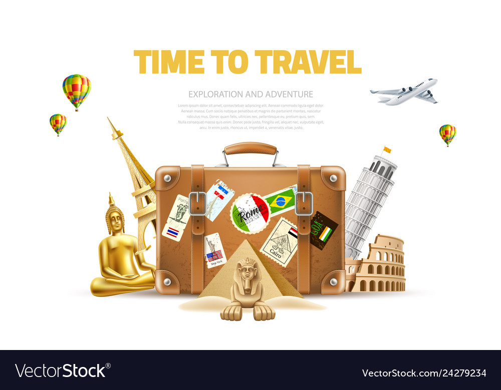Travelling and tourism poster design 3d