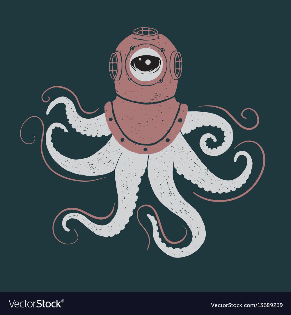 Abstract octopus in helmet