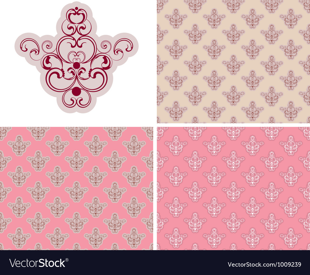 Abstract Seamless Pink Retro Background Set