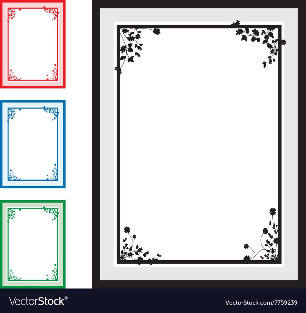 Black floral corners background set