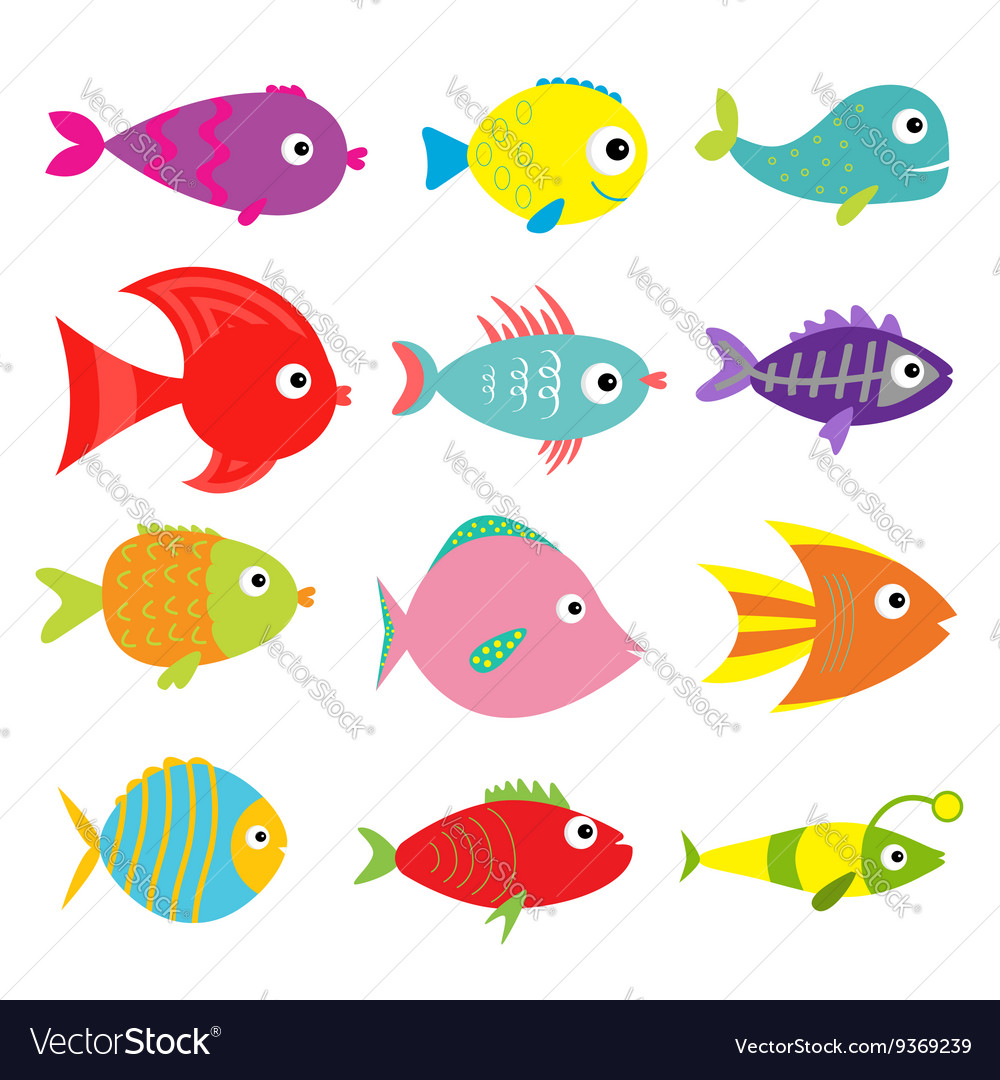 cute cartoon fish set isolated baby kids vector image