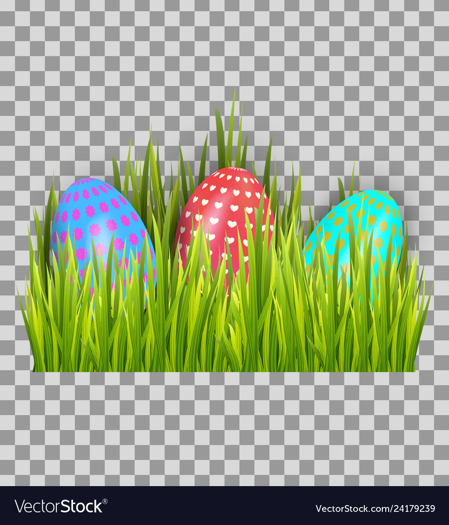 Decorated easter eggs in green grass isolated on