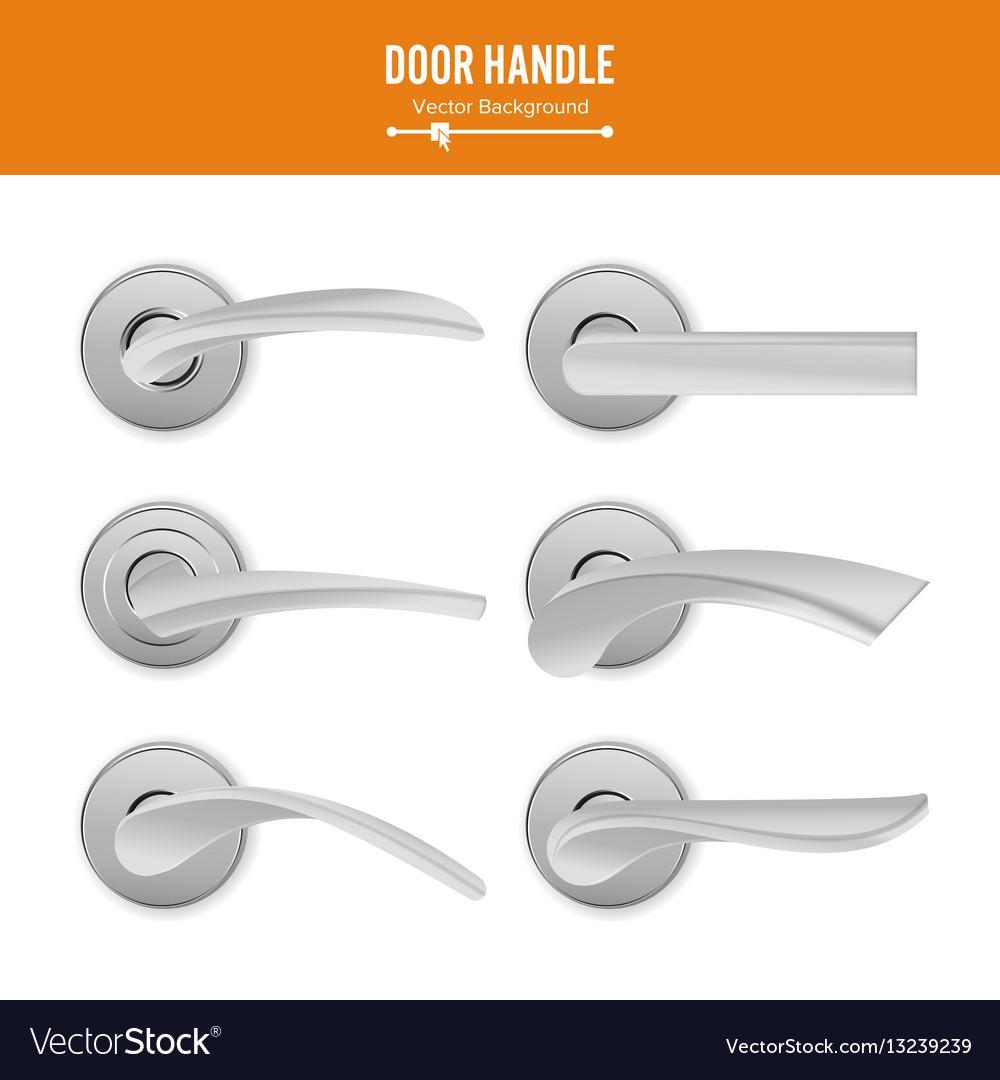Door handle set realistic classic element vector image