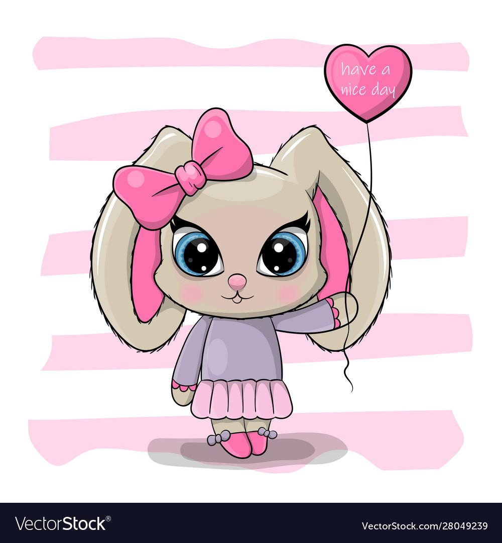 Strange Greeting Birthday Card Cute Cartoon Rabbit Girl Vector Image Funny Birthday Cards Online Ioscodamsfinfo
