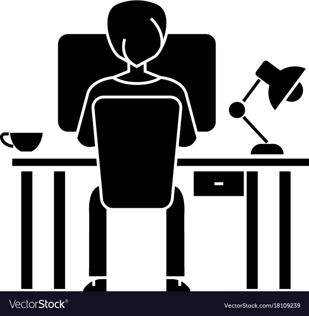 Man working on computer on table sitting back icon