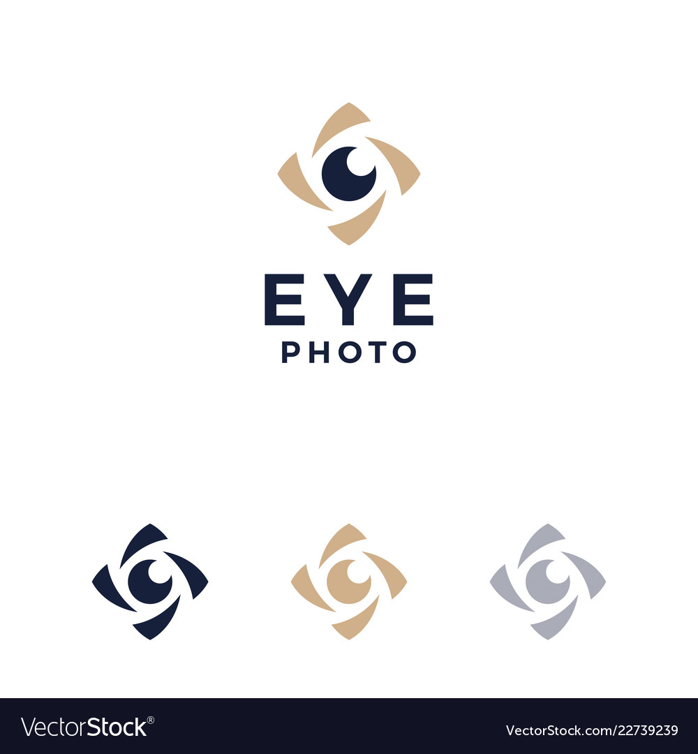 Modern professional logo photos eyes on white
