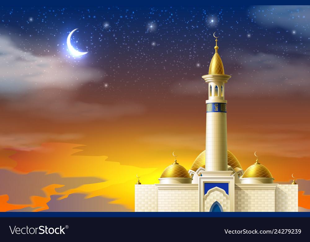 Realistic muslim mosque night moon star sky