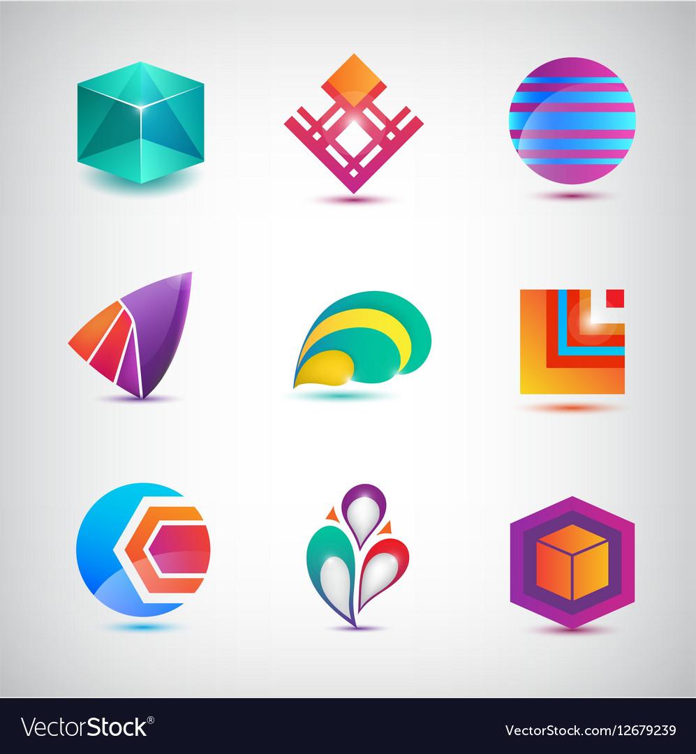 Set of abstract logos icons minimal