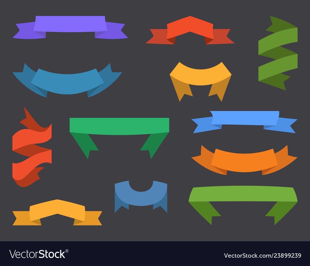 Set of twelve ribbons and banners for web design