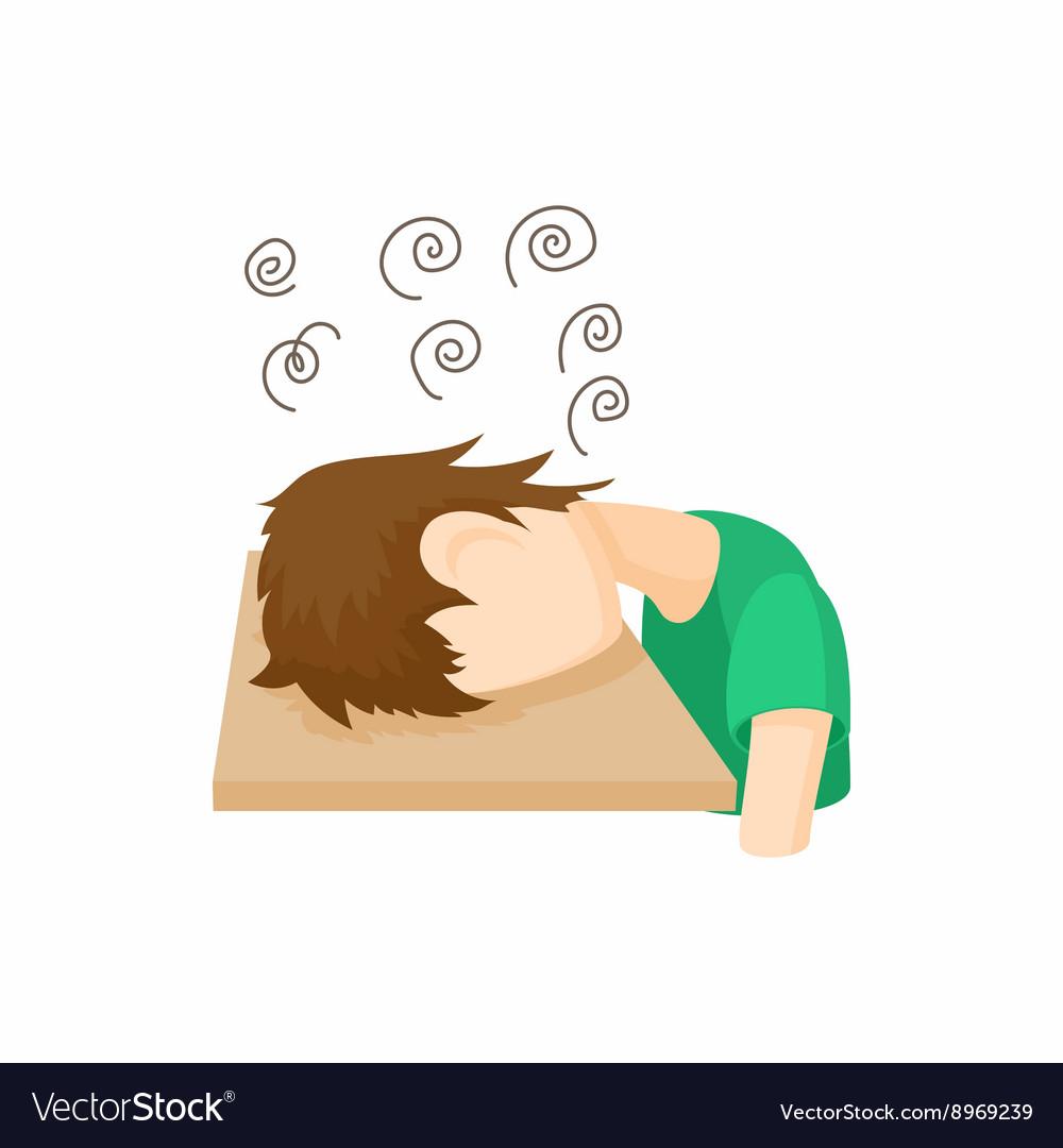 Stressed man icon cartoon style
