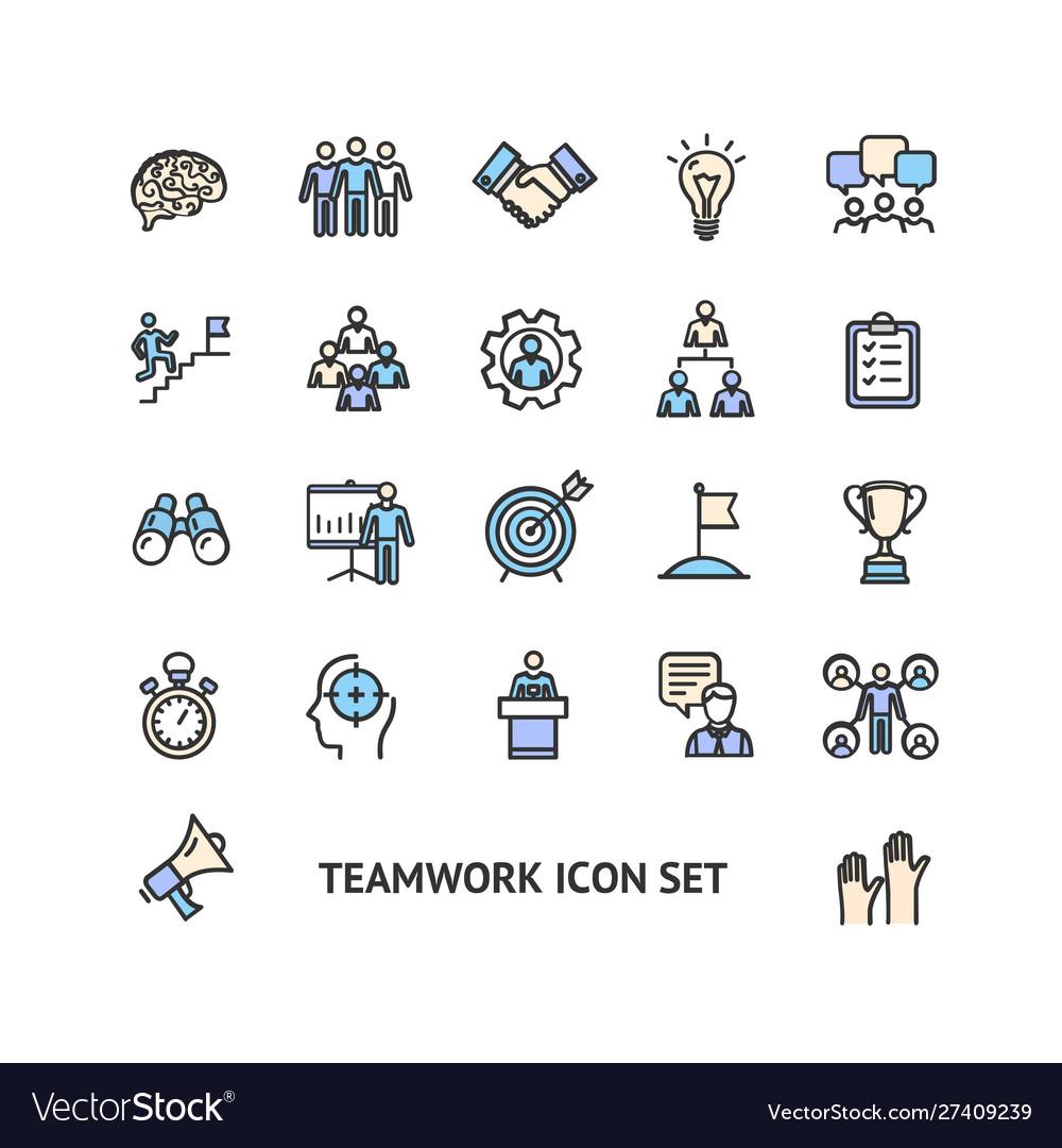 Teamwork sign color thin line icon set