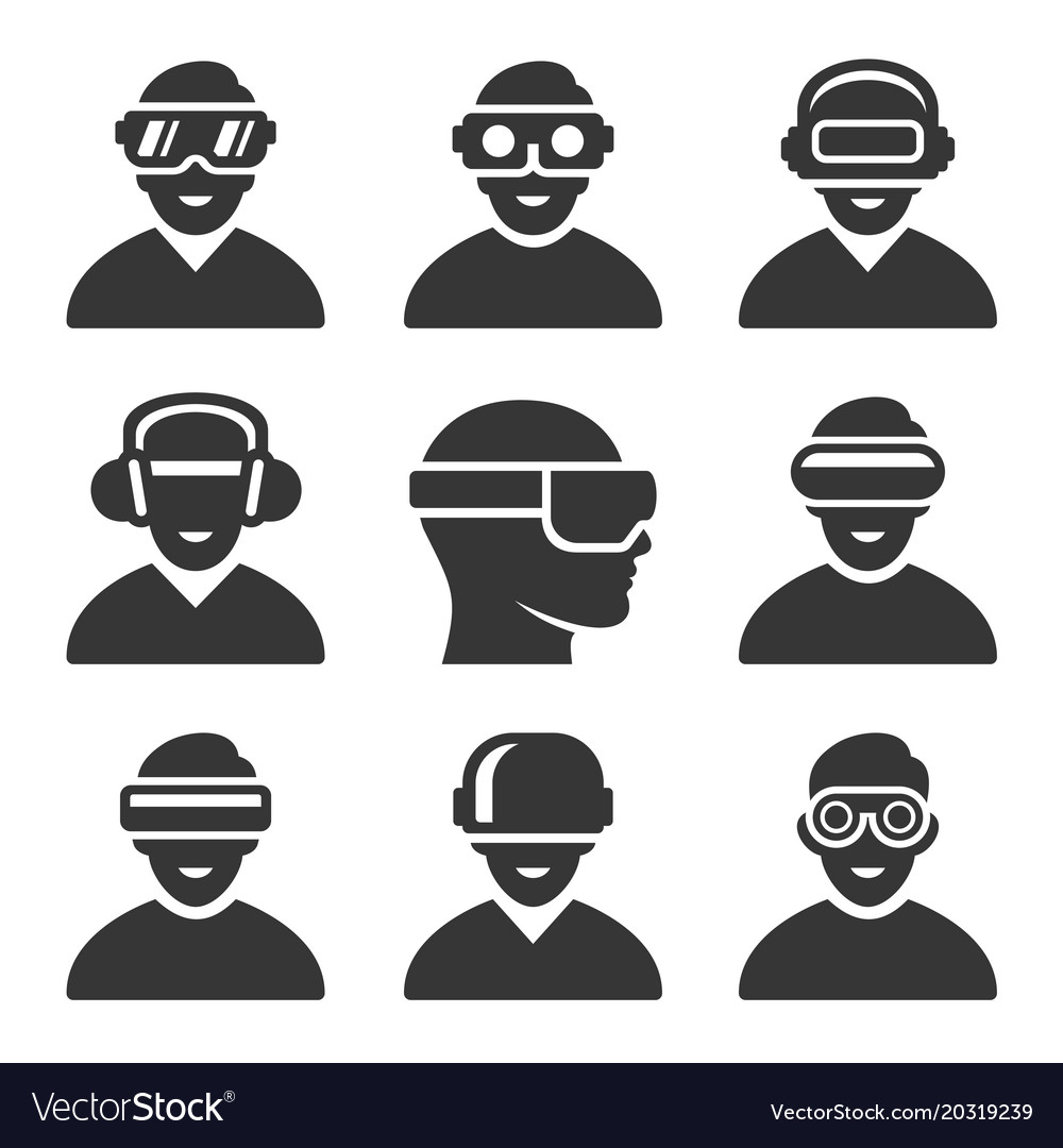 Virtual reality vr headset icons set