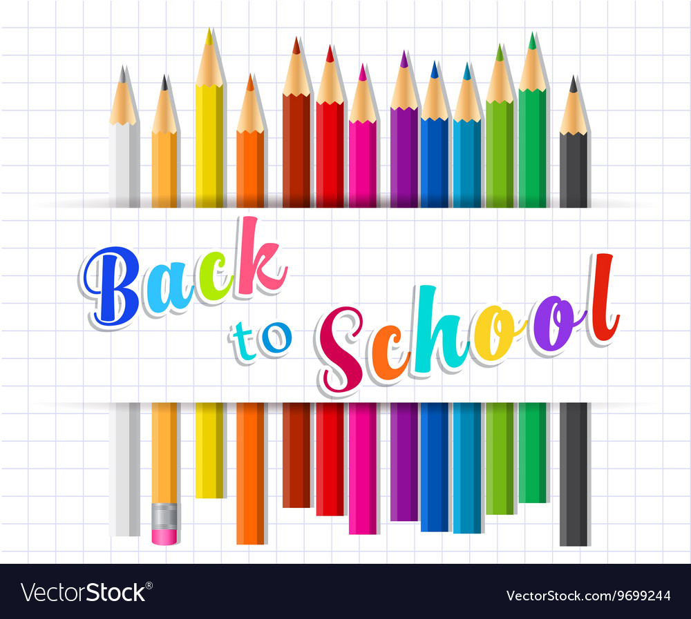 Back to school background with Coloring pencils