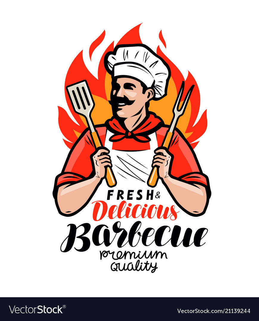 Barbecue logo or label cook or happy cook holding