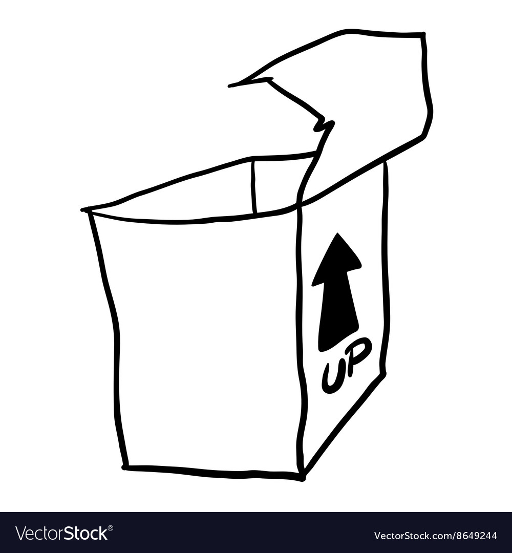 black and white freehand drawn cartoon empty box vector image