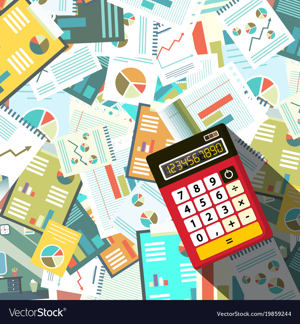 Calculator woth paperwork background vector image