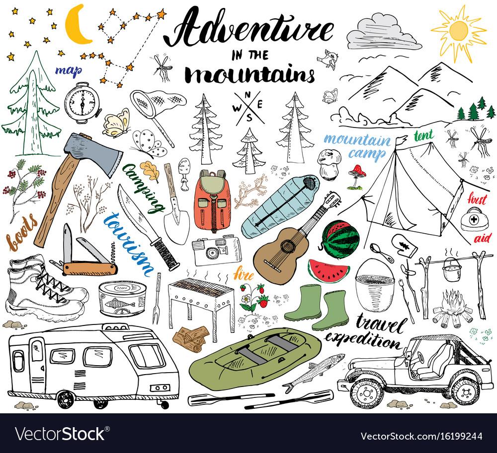 Camping hiking hand drawn sketch set