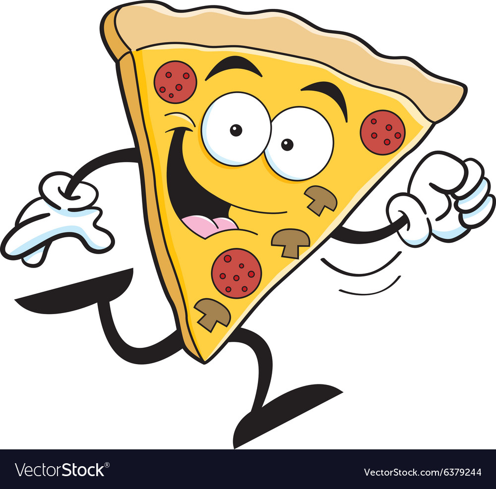 Cartoon slice of pizza running